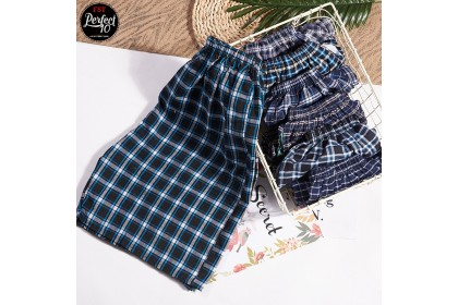 FST 100% Cotton Casual Shorts Men's Pants Beach Plaid Shorts