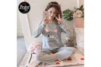 FST Premium Quality Comfortable Silk Fabric Long Sleeve and Long Pant Grey Mouse Lets Cuddlei Pyjamas / Set Baju Tidur Elegant design [6003]