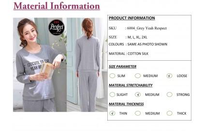 FST Premium Quality Comfortable Silk Fabric Long Sleeve and Long Pant Grey Yeah Respect Pyjamas / Set Baju Tidur Elegant design [6037]