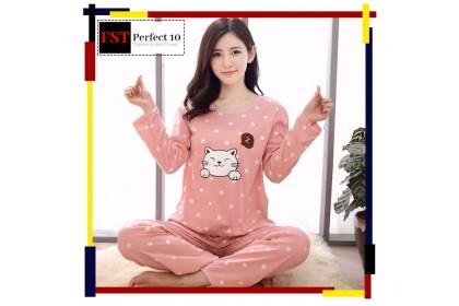FST Premium Quality Comfortable Silk Fabric Long Sleeve and Long Pant Pink Cat Pokka Dot Pyjamas / Set Baju Tidur Elegant design [6006]