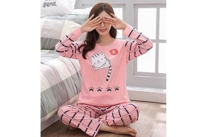 FST Premium Quality Comfortable Silk Fabric Long Sleeve and Long Pant Pink Cat Plaid Pants Pyjamas / Set Baju Tidur Elegant design [6007]