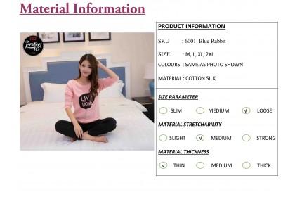 FST Premium Quality Comfortable Silk Fabric Long Sleeve and Long Pant Pink Black Live Home Pyjamas / Set Baju Tidur Elegant design [6051]