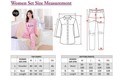 FST Premium Quality Comfortable Silk Fabric Long Sleeve and Long Pant Pink Love Pyjamas / Set Baju Tidur Elegant design [6009]