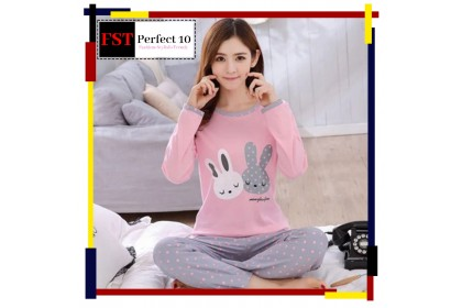 FST Premium Quality Comfortable Silk Fabric Long Sleeve and Long Pant Pink Grey Bunny Pyjamas / Set Baju Tidur Elegant design [6010]