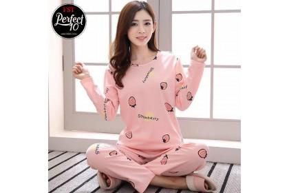 FST Premium Quality Comfortable Silk Fabric Long Sleeve and Long Pant Pink Strawberry Pyjamas / Set Baju Tidur Elegant design [6011]