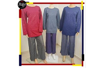 FST Women Long Sleeve Floral Loose Plain Blouse / Blouse Kosong Bunga Gelap [1315 & 1316]