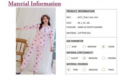 FST Premium Quality Comfortable Silk Fabric Long Sleeve and Long Pant Pink Little Girl Pyjamas / Set Baju Tidur Elegant design [6053]