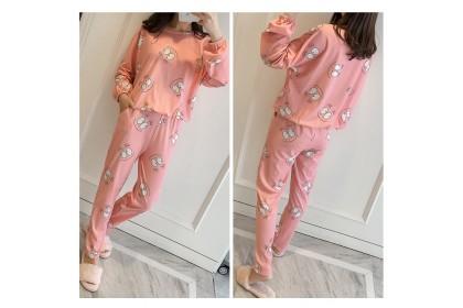 FST Premium Quality Comfortable Silk Fabric Long Sleeve and Long Pant Violet Pink Eyes Pyjamas / Set Baju Tidur Elegant design [6050]