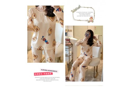 FST Premium Quality Comfortable Silk Fabric Long Sleeve and Long Pant Yellow Owci Pyjamas / Set Baju Tidur Elegant design [6049]