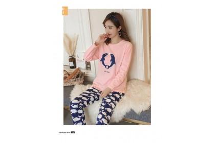 FST Premium Quality Comfortable Silk Fabric Long Sleeve and Long Pant Pink Blue Dolphin Pyjamas / Set Baju Tidur Elegant design [6048]