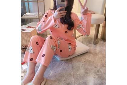 FST Premium Quality Comfortable Silk Fabric Long Sleeve and Long Pant Orange Bear Pyjamas / Set Baju Tidur Elegant design [6047]