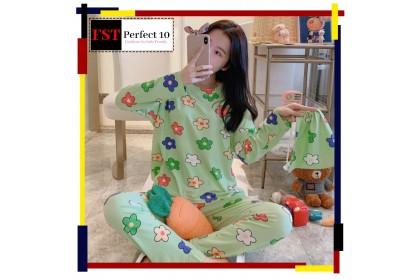 FST Premium Quality Comfortable Silk Fabric Long Sleeve and Long Pant Pyjamas / Set Baju Tidur Elegant design