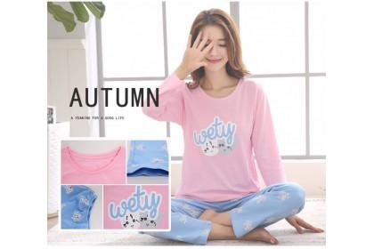 FST Premium Quality Comfortable Silk Fabric Long Sleeve and Long Pant Wety Cat Pyjamas / Set Baju Tidur Elegant design [6044]