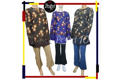 FST Muslimah S-5XL Plus Size Zip Flora Batik Long Sleeve Fashion Blouse Baju Raya 2021 [757_2]