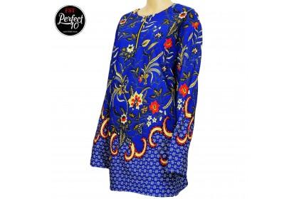 FST Muslimah S-5XL Plus Size Zip Flora Batik Long Sleeve Fashion Blouse Baju Raya 2021 [757_3]