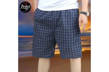 FST 100% Cotton Plus Size Casual Shorts Men's Pants Beach Plaid Shorts