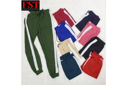 BORONG FST Korean Fashion Women Seluar LONG PANTS Long Trousers Loose Casual Stripe Pants [M094]