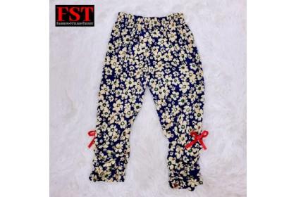 KIDS Full Print Pokka Dot Long Pants Floral Pants / Seluar Panjang Bunga Pokadot Budak [GIRL PANTS-2219]